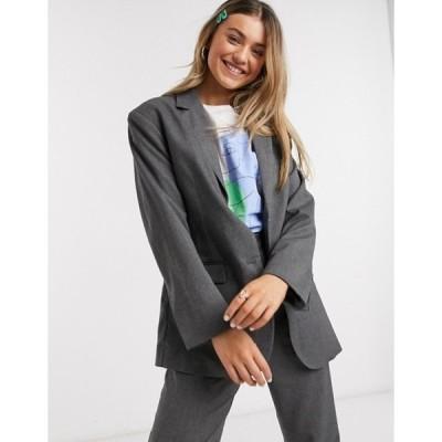 モンキ レディース ジャケット・ブルゾン アウター Monki Grace oversized dad blazer in gray