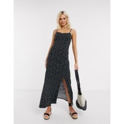 エイソス レディース ワンピース トップス ASOS DESIGN cami maxi dress in polka dot Black spot