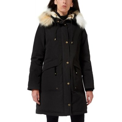 サム エデルマン Sam Edelman レディース ダウン・中綿ジャケット フード アウター Faux-Fur-Trim Hooded Puffer Coat Black