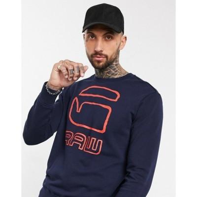 ジースター メンズ パーカー・スウェットシャツ アウター G-Star graphic G-raw crewneck sweatshirt Blue