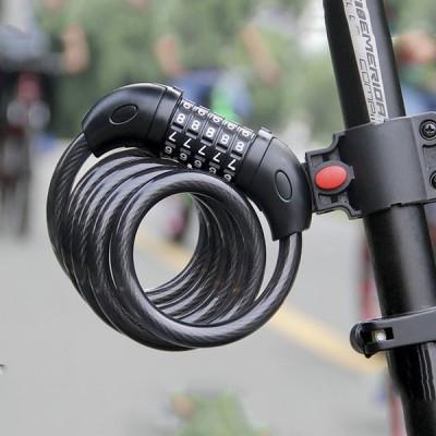 自転車ロック チェーンロック 5桁 ダイヤル式 パスワード自由設定 長さ120CM バイク 軽量携帯便利 盗難防止 ワイヤーロック