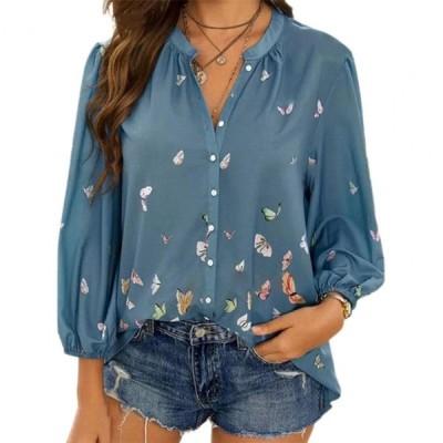 蝶のプリント 女性のロングスリーブトップ Y2kルース ファッション ブラウス プラスサイズ 女性服 基本的なトップス