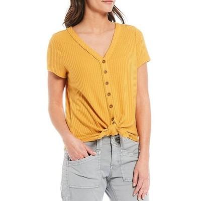 アベンチュラ レディース Tシャツ トップス Ayla V-Neck Short Sleeve Waffle Knit Button-Tie Front Tee