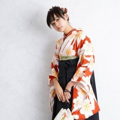 レンタル 袴セット 卒業式 2尺袖着物 袴16点セット えんじの矢絣なでしこ うたたね 着物と袴以外はおまかせコーデ