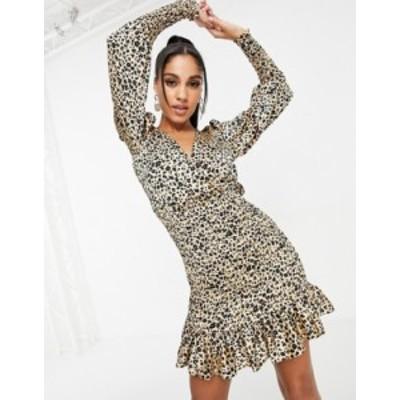 エイソス レディース ワンピース トップス ASOS DESIGN satin shirred skirt mini dress in leopard Beige leopard