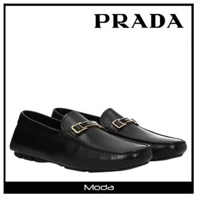 プラダ ローファー メンズ PRADA 靴 黒 ブラック ロゴ モカシン