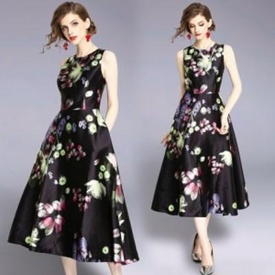 ミッドナイト ブルーミング フラワー柄 ノースリーブ フレア ワンピース ドレス