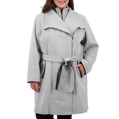 ヴィンスカムート コート アウター レディース Plus Size Belted Wrap Coat,  Light Grey