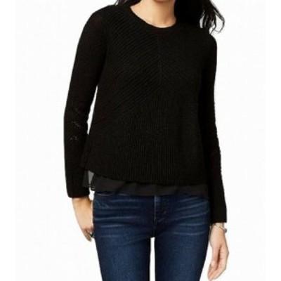 lucky ラッキー ファッション トップス Lucky Brand NEW Black Womens Size Medium M Nico Chiffon-Hem Sweater
