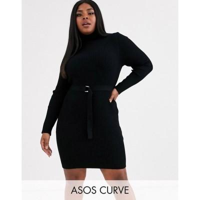 エイソス レディース ワンピース トップス ASOS DESIGN Curve belted rib knit mini dress with roll neck