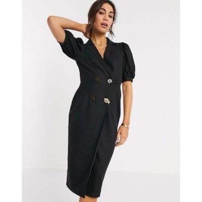 エイソス レディース ワンピース トップス ASOS DESIGN midi tux dress with mixed buttons in black Black