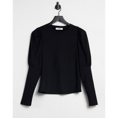 オンリー レディース Tシャツ トップス Only long sleeve t-shirt with half volume sleeve in black Black