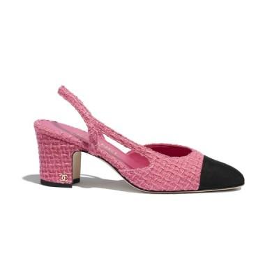 シャネル CHANEL パンプス シューズ 靴 ピンク ブラック ツイード グログラン
