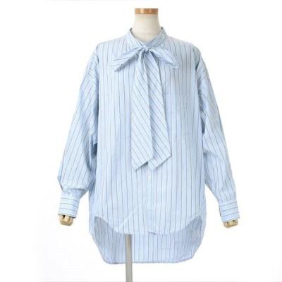 値下げ バレンシアガ ニュースイングシャツ ボウタイ バックロゴ オーバーサイズ ストライプ サイズ36 ブランドピース