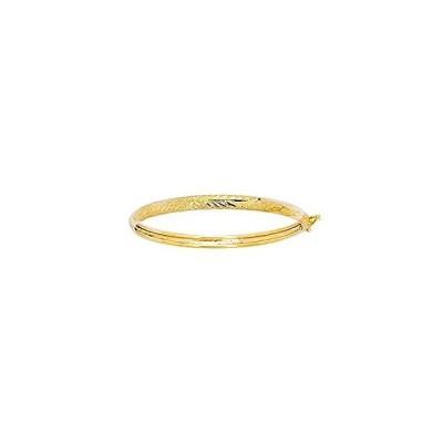 """特別価格14k Yellow Gold 4.3MM Engraved Baby Children Kids Bangle Bracelet 5.5""""好評販売中"""
