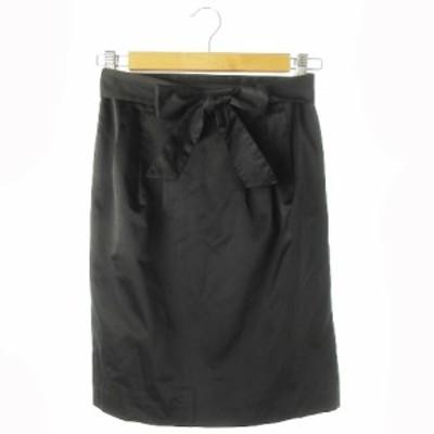 【中古】エムプルミエ M-Premier スカート タイト ひざ丈 リボン 36 黒 ブラック /CK10 ☆ レディース