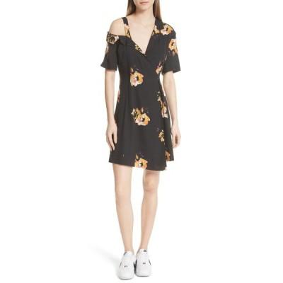 エーエルシー レディース ワンピース トップス Lucia Floral Print Silk Cold Shoulder Dress BLACK/SAFFRON