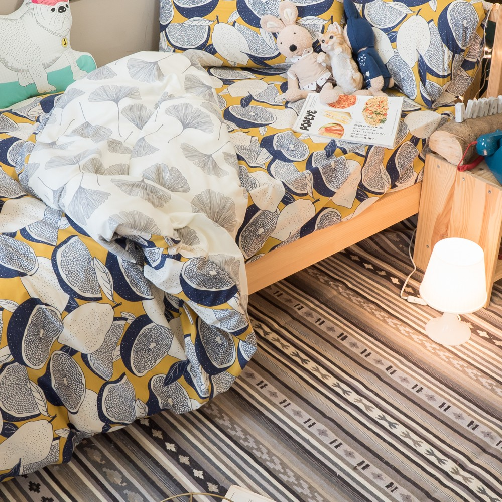 藍色檸檬與落葉(床包檸檬)  【雙人組合】規格可選 舒適磨毛布 台灣製造