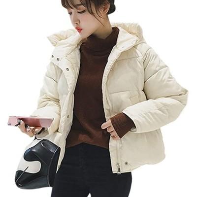 中綿 ショート コート ダウン風 フード付き アウター レディース(ホワイト, L)