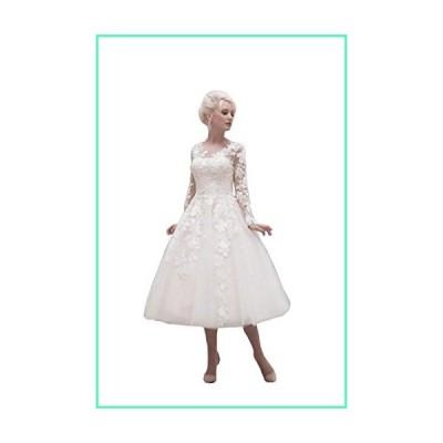 Yangprom Cute Tea Length Long Sleeve Ball Gown Wedding Dresses(16, White)並行輸入品