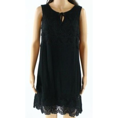 Sanctuary サンクチュアリ ファッション ドレス Sanctuary NEW Black Tie-Neck Womens Small S Crochet-Lace Shift Dress
