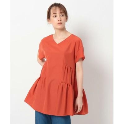 INDIVI/インディヴィ 【洗える】Vネックティアードブラウス オレンジ(067) 38(M)