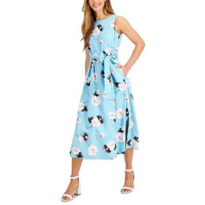 アンクライン ワンピース トップス レディース Printed Tie-Sash Midi Dress Siren Blue Combo