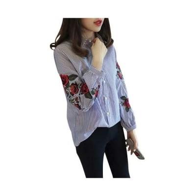 [デイジーモード] 刺繍ブラウス バラの刺繍 長袖シャツ L ホワイト
