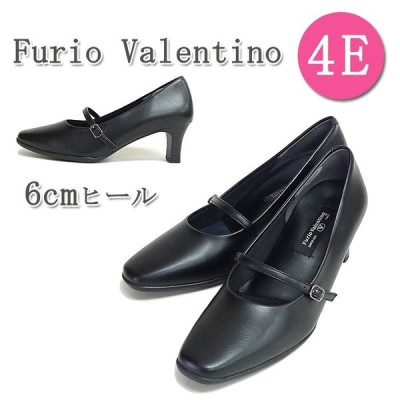 Furio Valentino[フリオバレンチノ] やさしい履き心地の甲ストラップ付きパンプス。 6cmヒール 4E 幅広設計 リクルート フォーマル 仕事 No.6453