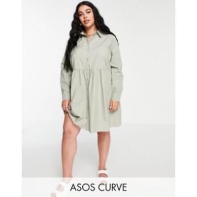 エイソス レディース ワンピース トップス ASOS DESIGN Curve cotton mini smock shirt dress in khaki Khaki
