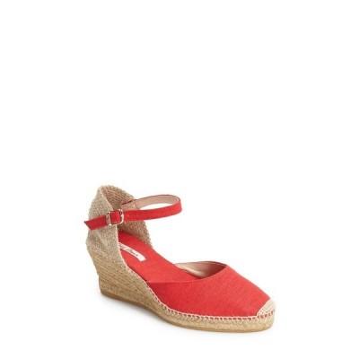 トニーポンズ サンダル シューズ レディース 'Caldes' Linen Wedge Sandal Red