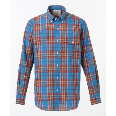 J.PRESS/ジェイプレス スーパーマドラスチェック シャツ / ボタンダウン ブルー系3 M