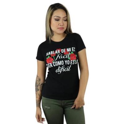レディース 衣類 トップス ShirtBANC Brand Hablar de mi es FACIL Ser Como Yo es Dificil Womens Shirt (Black S) グラフィックティー