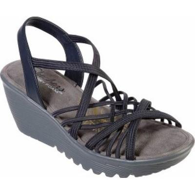 スケッチャーズ レディース サンダル シューズ Women's Skechers Parallel Crossed Wires Strappy Wedge Sandal Navy