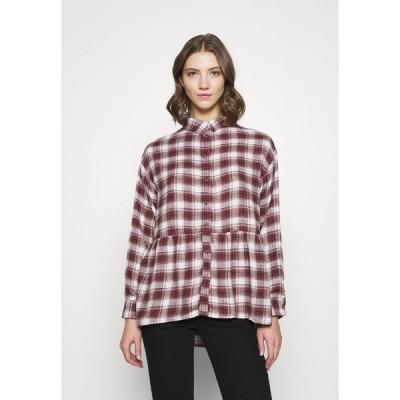アメリカンイーグル シャツ レディース トップス BABYDOLL PLAID - Button-down blouse - burgundy