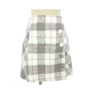 【中古】未使用品 リズリサ LIZ LISA スカート チェック 台形 ひざ丈 ラップ風 グレー 白 ホワイト 0 レディース 【ベクトル 古着】