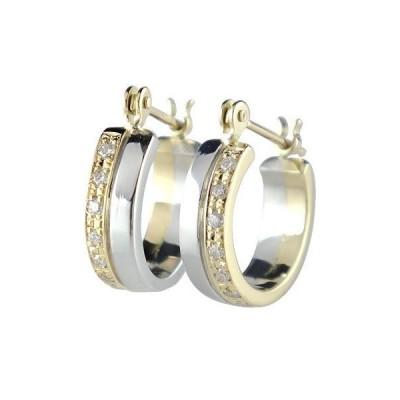 プラチナ フープピアス 18金 シンプル ダイヤモンド シンプル イエローゴールドk18 18k コンビ レディース 宝石 リング 人気