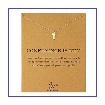 LANG XUAN Friendship Gold Key Necklace Good Luck Elephant Pendant Chain Necklace with Message Card Gift Card