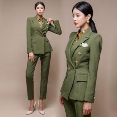 スーツ レディース パンツスーツ グリーン 韓国風 キレイめ 20代 30代 40代 フォーマルスーツ 通勤 OL ビジネス オフィススーツ テーラー