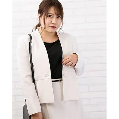 【大きいサイズ】 ウエスト切替ノーカラージャケット コート, plus size coat