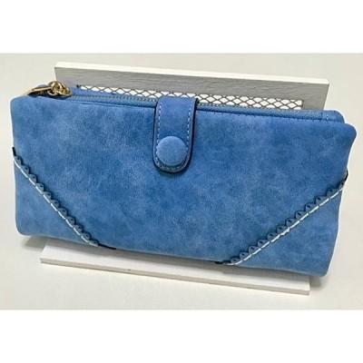 長財布 財布 ユーズド風 レディース 合成皮革 多機能 ブルー