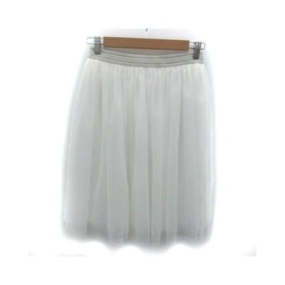 【中古】アーバンリサーチ URBAN RESEARCH スカート フレア チュール ひざ丈 F ホワイト 白 /YM41 レディース 【ベクトル 古着】