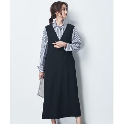 大きいサイズ シックスタイル Vネックジャンパースカート ,スマイルランド, ワンピース, plus size dress