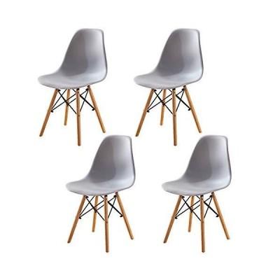 HomeSailing ダイニングチェア グレー 4脚セット ポリプロピレン イームズチェア 高さ82cm 座面高43cm 食卓椅子 組立?