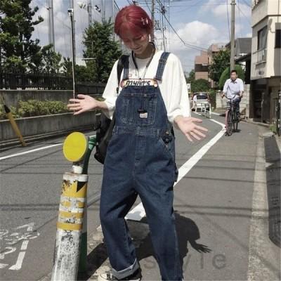 デニムオーバーオール韓国原宿系ストリートダンス衣装HIPHOPオルチャンアメカジつなぎジーンズパンツボトムスジーパン