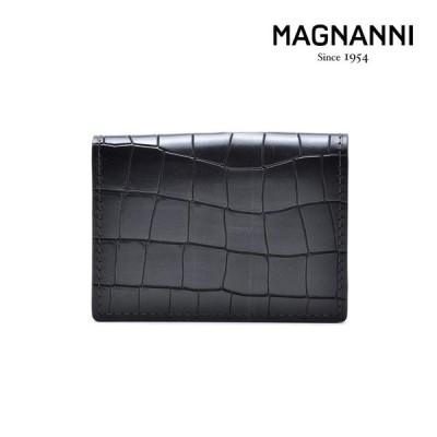 マグナーニ カードケース パスケース 定期入れ 名刺入れ クロコ型押し グリス メンズ MAGNANNI 1280 GRIS  CARDCASE
