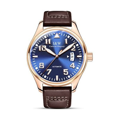Mastop Carnival Sapphire Automatic Mechanical Watches Mens Stainless Steel Waterproof Brown Leather Watch並行輸入品
