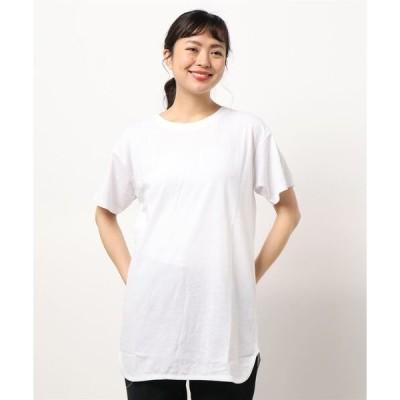 tシャツ Tシャツ Tチュニック ロング丈Tシャツ 汗染み防止加工素材 ビッグシルエット/オーバーサイズ 前後差