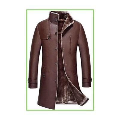 Mens Classic Winter Warm Sheep Skin Leather Coat Parka Lamb Wool Lined Jacket (US X-Small, US/1807 Red-Brown)【並行輸入】【新品】