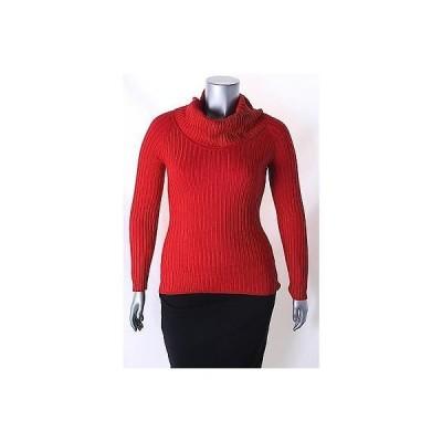 インク セーター ニット INC レッド 長袖 Ribbed Cowl Neck セーター サイズ L 49 LAFO